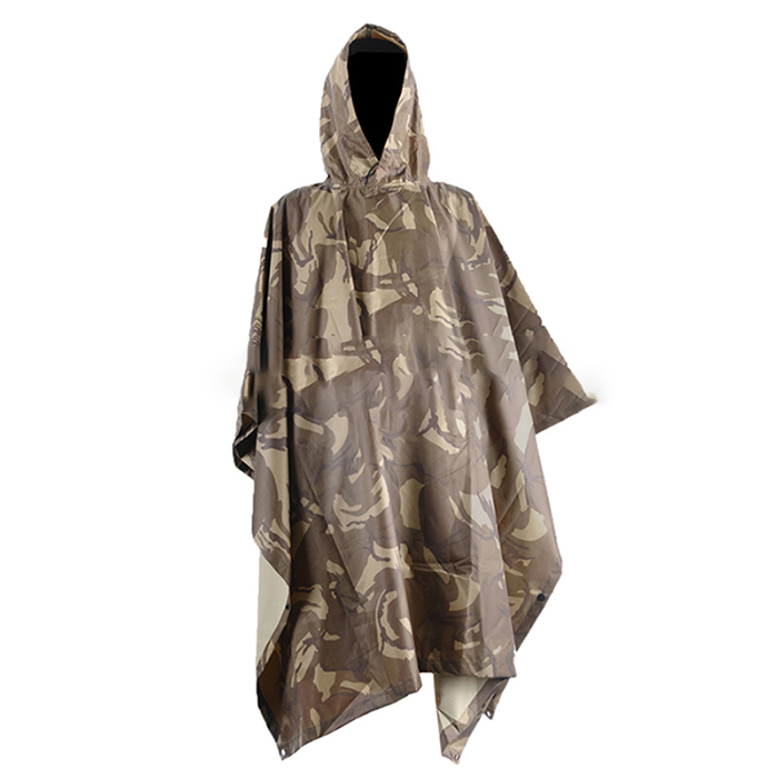 Camouflage 190T PVC Coating Military Raincoat Ponchos with Hoodies.png