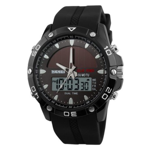 Solar Power Dual time Wrist Watch with Silicone Strap.png