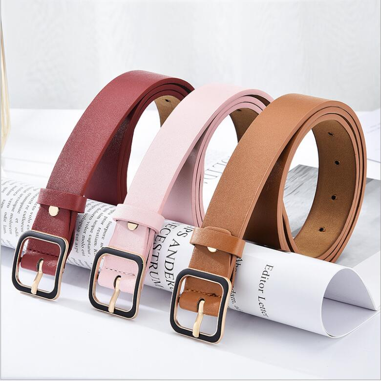 Factory Wholesale Fashion PU Leather Waist Buckle Woman Solid Color Belt