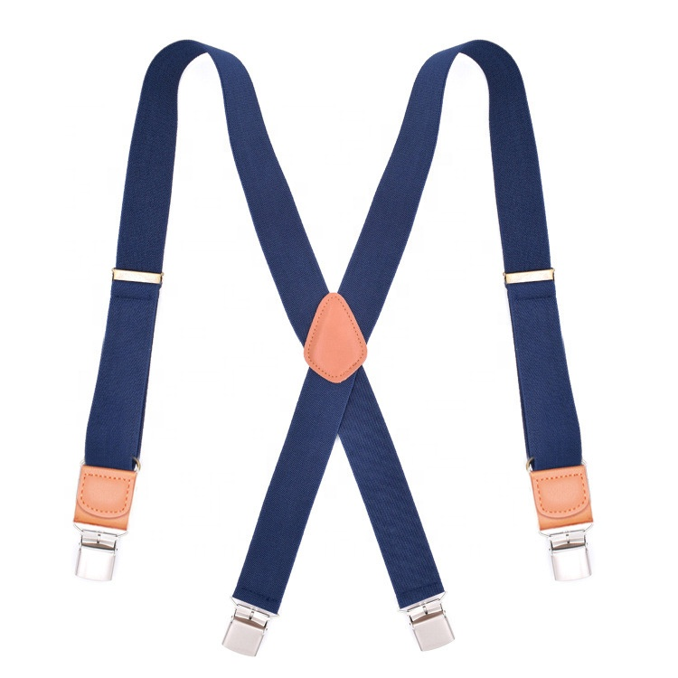 Adult Navy Blue Men's Four Clips Jacquard Wide Strap Suspenders