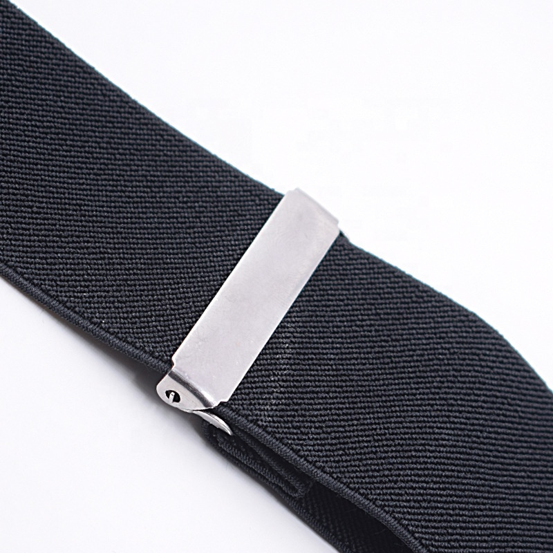 Adult 5CM black men's 4 clip widened strap clip suspenders