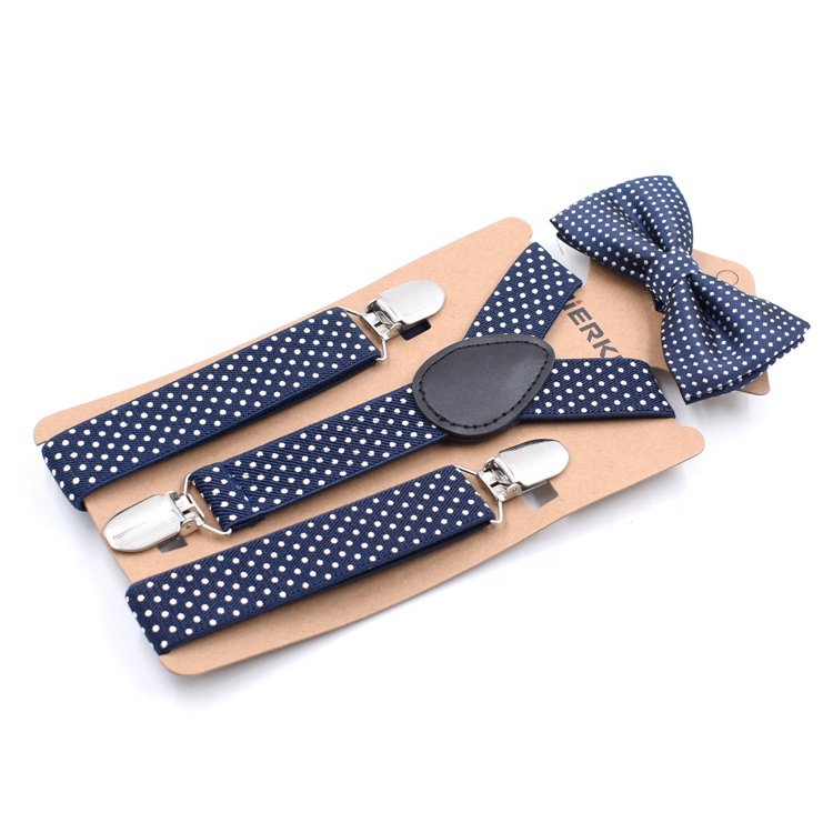 Retail stock black print 3 clip suspender belt and bow tie suit child strap clip