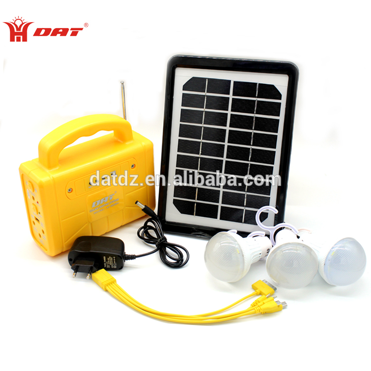 Factory Direct selling rechargeable more bright 10W solar home lighting kit with radio