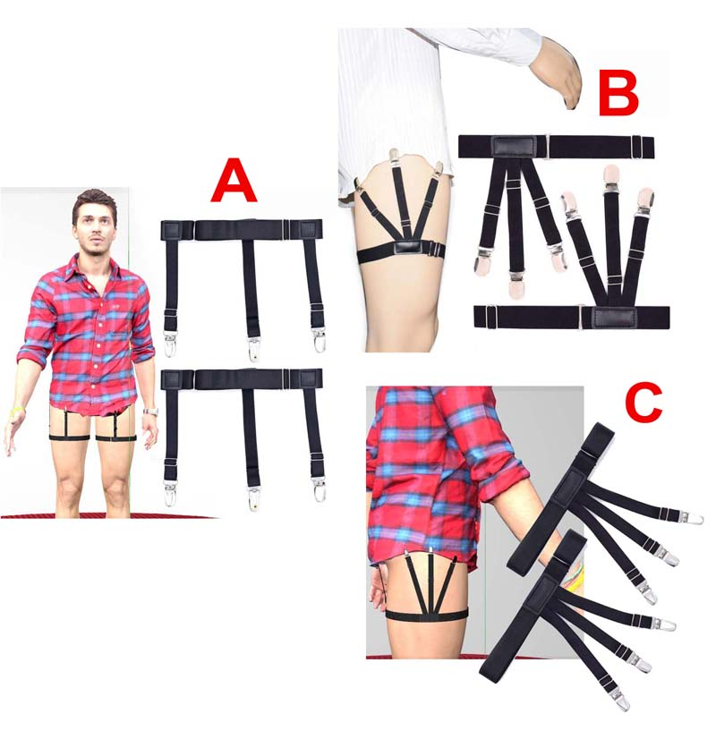 High quality Mens Shirt Stays Garters Suspenders Braces For Shirts / Elastic Men Shirt Stays Suspenders