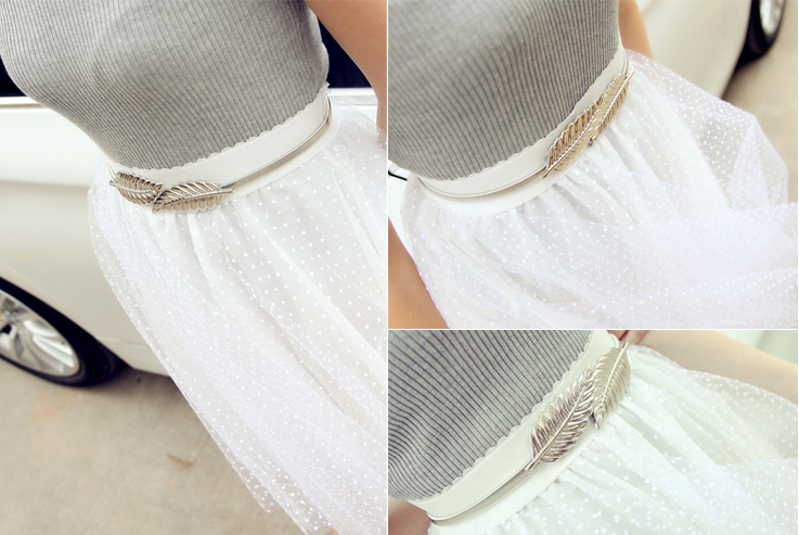 Women Fashion Metal Leaves Belt
