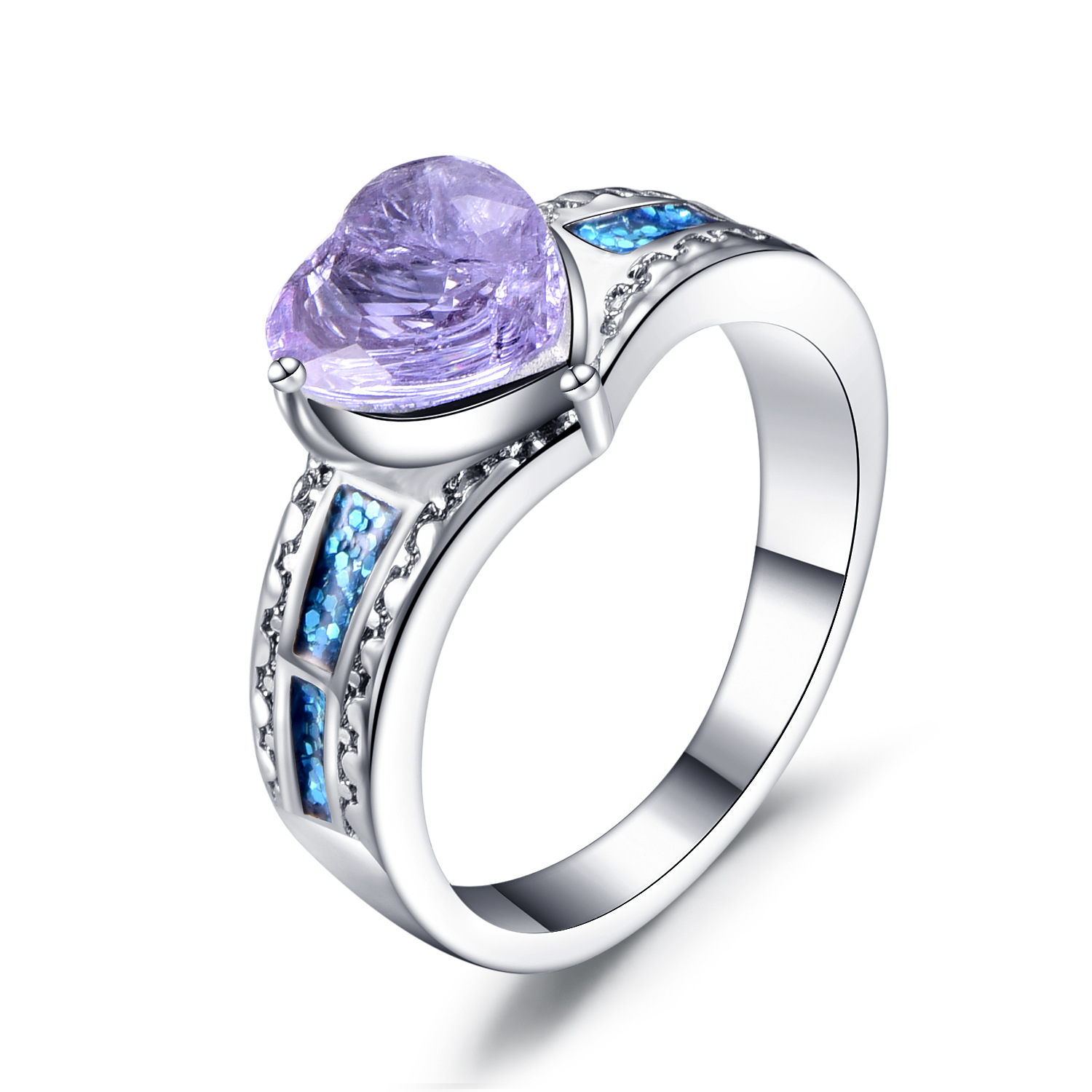 Rhodium Plated Purple Heart Shaped Cubic Zirconia CZ Halo Engagement Ring Purple Halo Engagement Wedding Ring