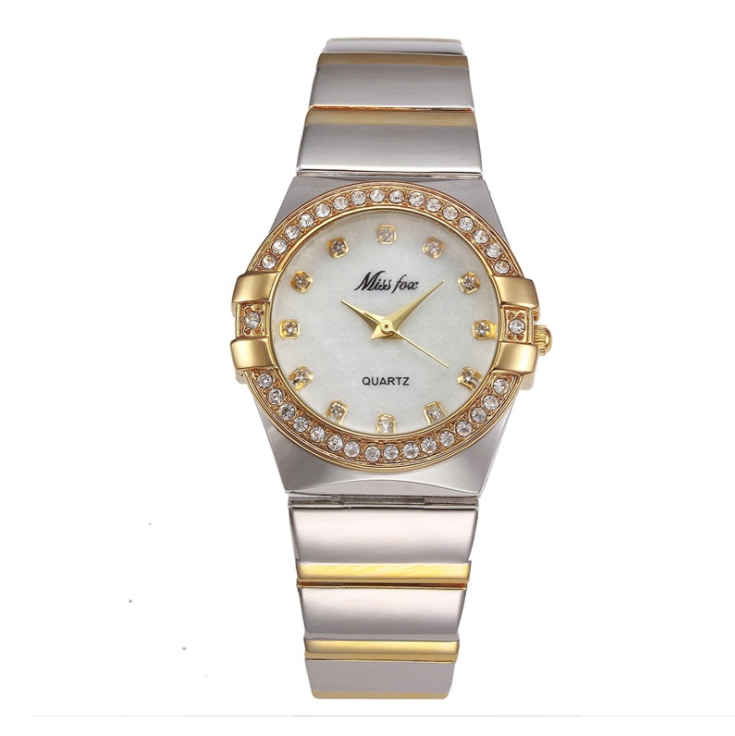 Wholesale Alloy Band Quartz Watches Luxury Unisex Crystal Wrist Watch Gold