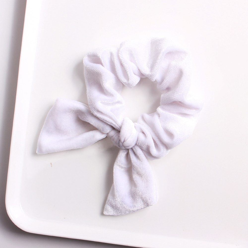 Wholesale High Quality Hair Accessories Elastic Scrunchies Velvet Rabbit Ears Bowknot Hair Band for Girls