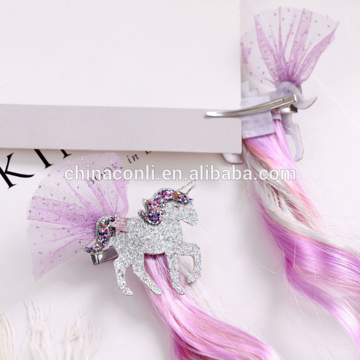 Yiwu factory hot selling sequin unicorn faux hair clip for girls kid party hair accessory