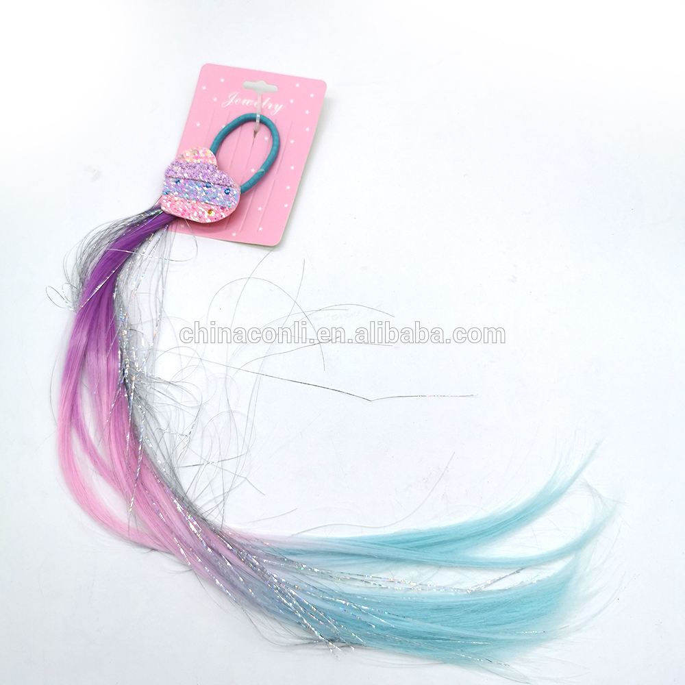 Yiwu factory hot selling ombre heart shape sequin faux kid girl hair clip