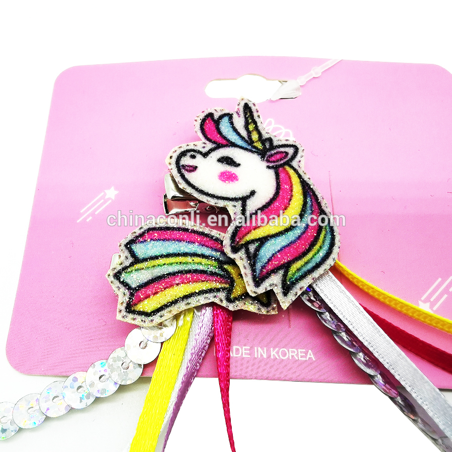 Yiwu factory hot selling sequin strip unicorn faux hair clip for girls kid party hair accessory