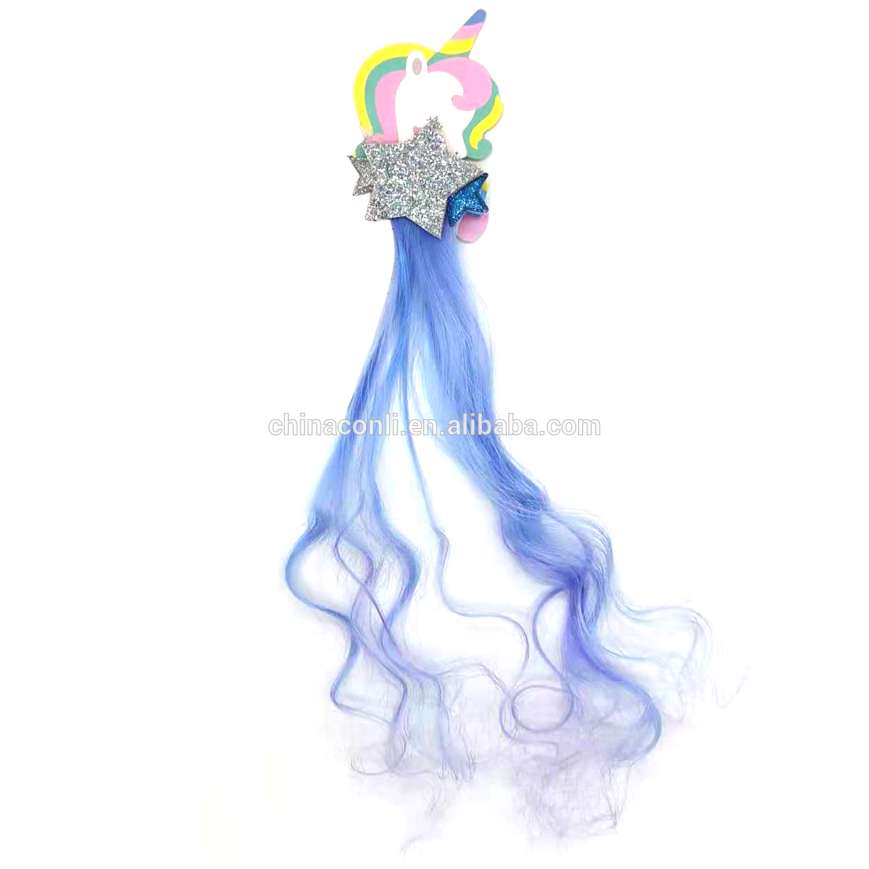 Yiwu factory hot selling blue sequin five-pointed star unicorn faux hair clip for girls kid party hair