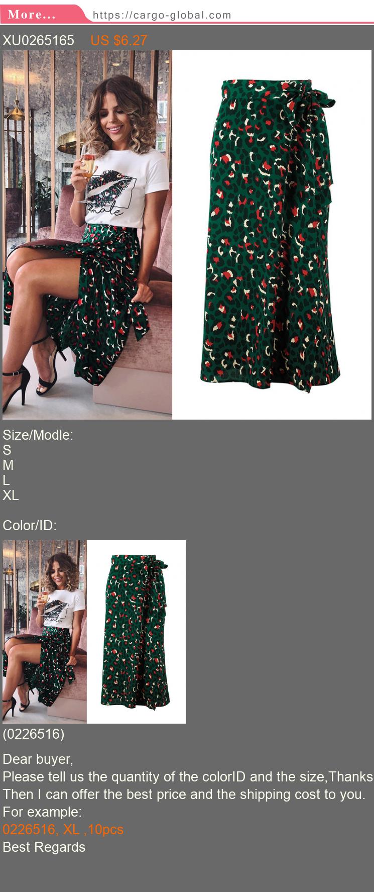 Vintage Leopard Print Long Skirts Women High Waist Midi Skirt Bow Tie 2019 Summer Sexy Split Wrap Skirt Ladies Green Beach