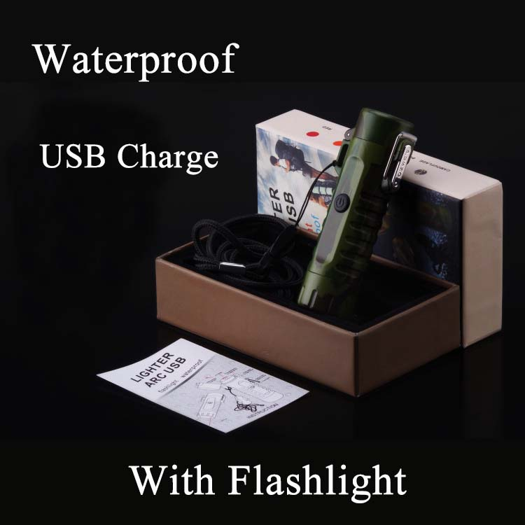 Custom Logo Waterproof and Windproof USB Cigarette Lighter with Flashlight for Outdoor