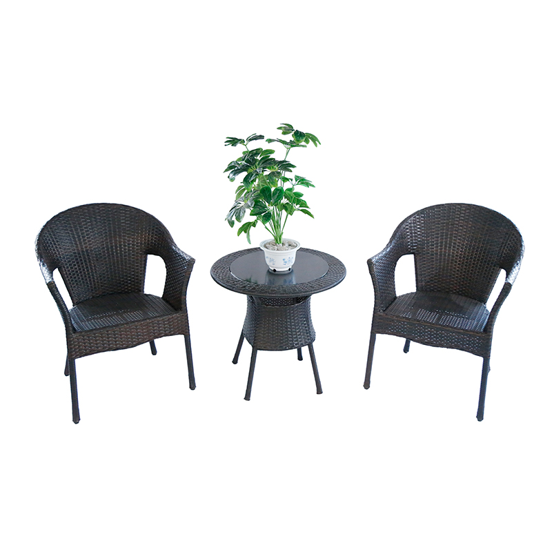 Contemporary Patio Garden Comfortable Rattan Outdoor Furniture Two Seaters Leisure Table Chair