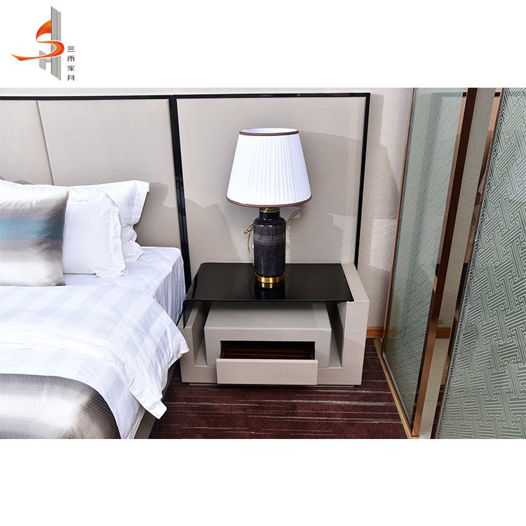 Industrial commercial custom vintage style nightstands bedside table for 5 star hotel