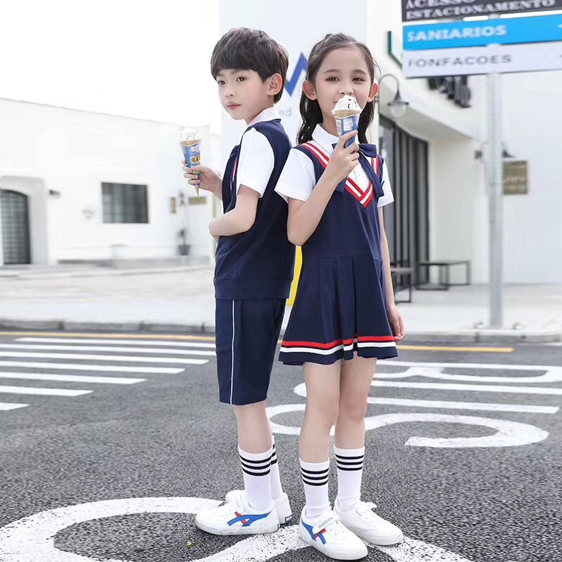 Chinese Style Children Girl sport Wear polo short Sleeved School Uniform