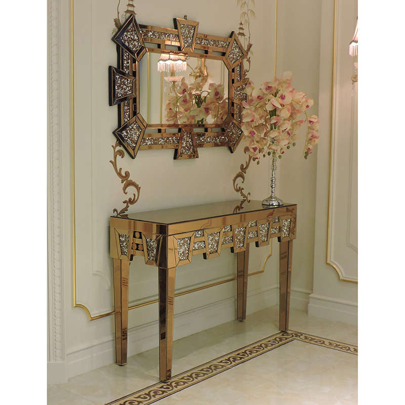 Antique Gold mirrored diamond crushed crystal console table with mirror