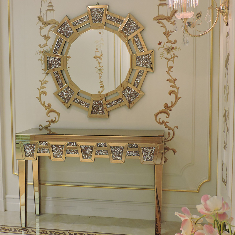 Antique mirrored glass home decor furniture gold diamond crushed crystal mirrored console table with mirror