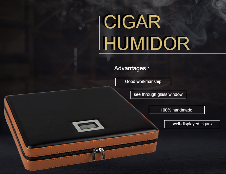 Out door Leather Travel Digital Cigar Humidor Sets With Safe Zipper Including Cutter Ashtray